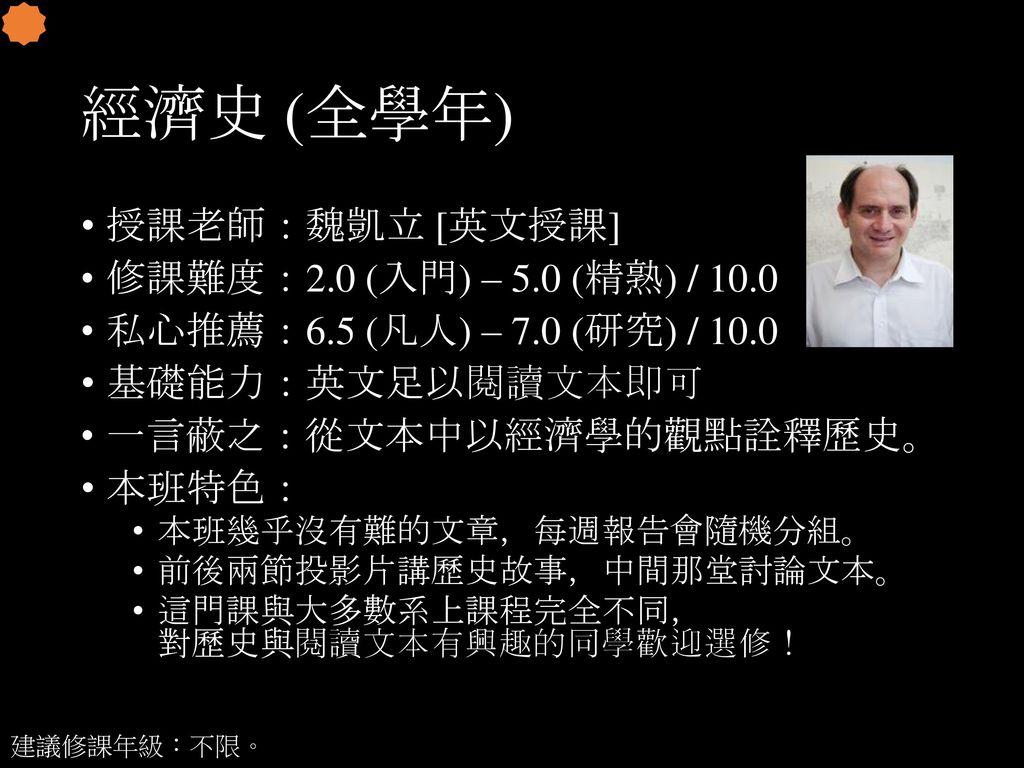 經濟史 (全學年) 授課老師:魏凱立 [英文授課] 修課難度:2.0 (入門) – 5.0 (精熟) / 10.0